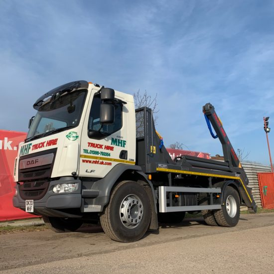 Skip lorries available from MHF (UK) Ltd